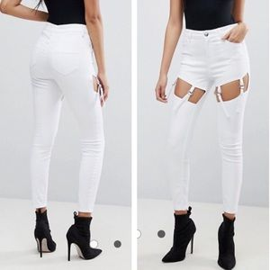 Asos high waist skinny jeans with suspender detail